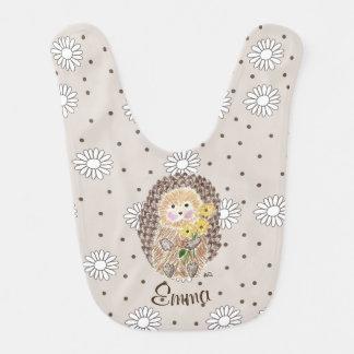 Babero floral beige personalizado erizo del bebé