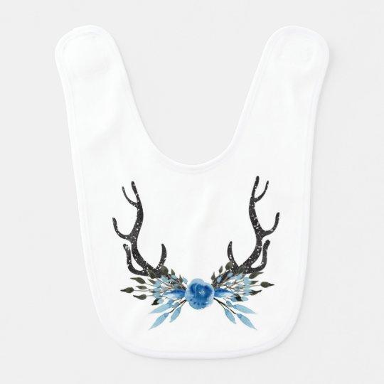 Babero floral del bebé de las astas de los ciervos