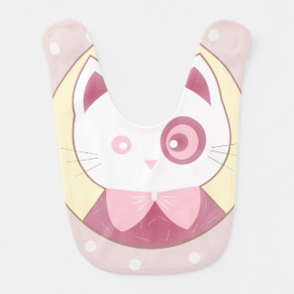 Babero Gatito rosado lindo feliz