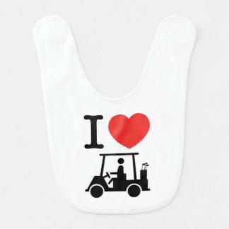 Babero I carro de golf del corazón (amor)