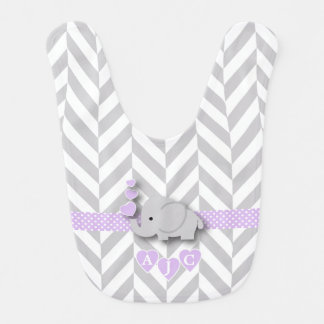 Babero Lavanda del monograma y elefante blanco del bebé