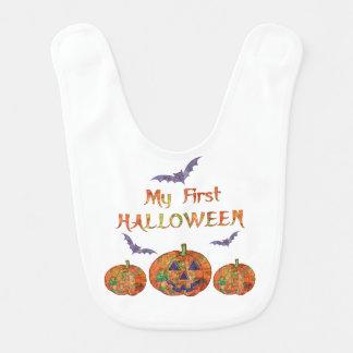 Babero Mi primer Halloween para el bebé: Calabazas y