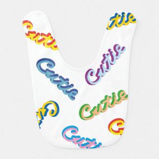 Babero Modelo multicolor del texto de Cutie