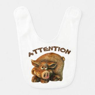Babero Pequeño cerdo lindo de la atención