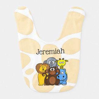 Babero personalizado del bebé de los animales del