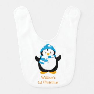 Babero personalizado del pingüino, el 1r navidad