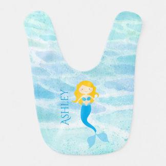 Babero personalizado sirena submarina del bebé