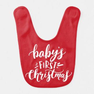 Babero Primeras letras de la mano del navidad del bebé