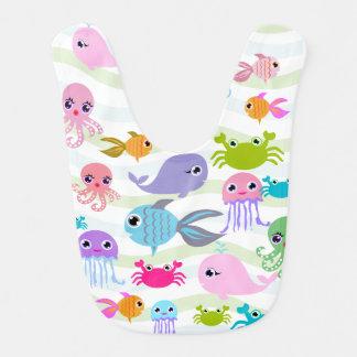 Babero pulpo del mar del océano, cangrejo, pescado,