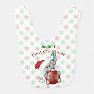 Babero Ratón del navidad, el primer navidad del bebé