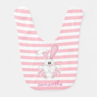 babero rosado lindo del bebé del conejito y de las