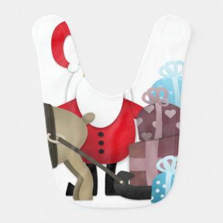 Babero Santa y su reno con los regalos