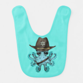 Babero Sheriff lindo del pulpo del bebé azul