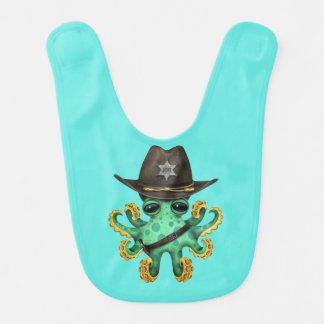 Babero Sheriff verde lindo del pulpo del bebé