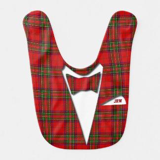 Babero Tela escocesa de tartán formal del monograma del