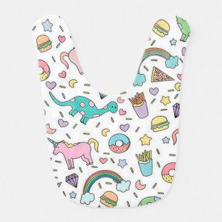 Babero Unicornios, amor, comida y arco iris