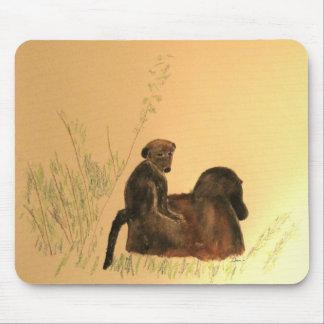 Babuinos de la madre y del bebé - primates de los alfombrilla de ratón