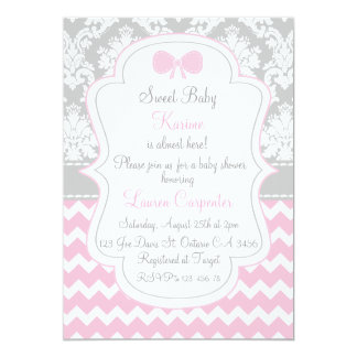 Baby shower girl invitation pink chevron and grey invitación 12,7 x 17,8 cm