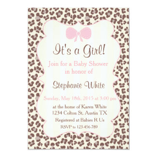 Baby Shower girl pink leopard Invitación 12,7 X 17,8 Cm