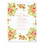 BabyShower floral subió melocotón rosado bonito Invitación 12,7 X 17,8 Cm