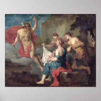 Bacchus entregado a las ninfas de Nysa Póster