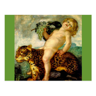 Bacchus que monta un leopardo postal