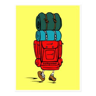 Backpacker del caminante con la mochila enorme postal