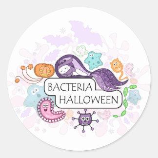 Bacterias Halloween Pegatina Redonda