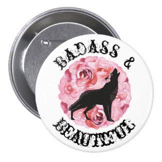 Badass y lobo y botón negros hermosos de los rosas