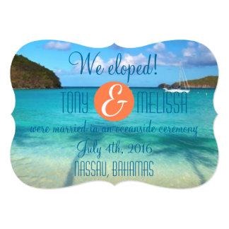 Bahamas que Eloped/que recepción invitan Invitación 12,7 X 17,8 Cm