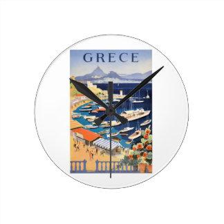 Bahía 1955 de Grecia Atenas del poster del viaje Reloj Redondo Mediano