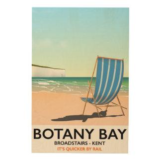 Bahía de la botánica, poster del viaje de la playa impresión en madera
