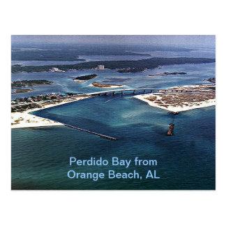 Bahía de Perdido de la playa anaranjada, AL Postal