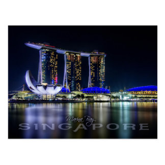 Bahía del puerto deportivo, Singapur en la noche Postal