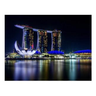 Bahía del puerto deportivo, Singapur en la noche Tarjeta Postal