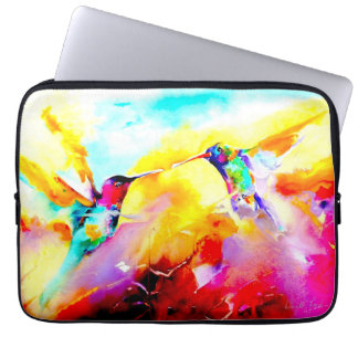 """""""Bailando en impresión del colibrí del color"""" Funda Para Ordenador"""