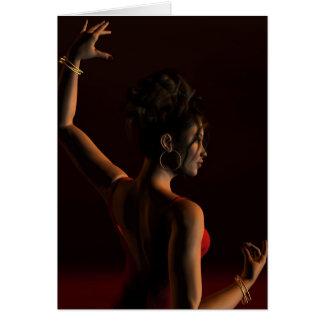 Bailarín español del flamenco en una etapa oscura tarjeta de felicitación