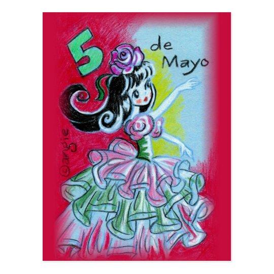 Bailarín mexicano del flamenco de Cinco De Mayo Postal