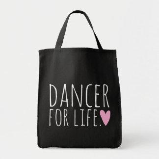 Bailarín para el negro de la vida con el corazón bolso de tela