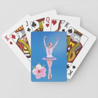 Bailarina con personalizable rosado de la flor del baraja de cartas