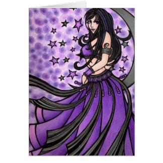 Bailarina de la danza del vientre violeta tarjetón