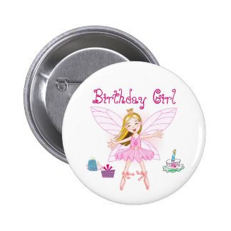 Bailarina de la hada del chica del cumpleaños chapa redonda de 5 cm