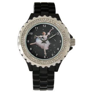 Bailarina de la reina de la nieve con números reloj de mano