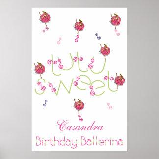 Bailarina del cumpleaños del copo de nieve del póster