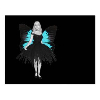 Bailarina del gótico de B&W y alas azules de la Postal