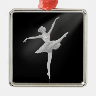 Bailarina en plata y personalizable negro adorno cuadrado plateado