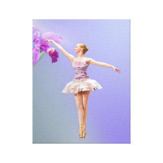 Bailarina y orquídea rosada impresión en lienzo estirada