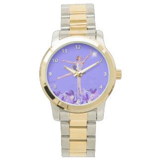Bailarina y violetas adaptables relojes