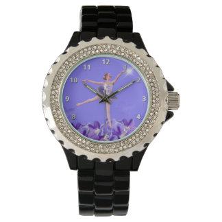 Bailarina y violetas con números relojes de pulsera