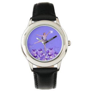 Bailarina y violetas relojes de pulsera